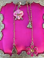 Betsey Johnson Vintage Pink Princess Mouse Crown Daisy Cheese Mismatch Earrings