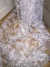 """5 MTR NEW WHITE EMBROIDED CRYSTAL BRIDAL TULLE LACE NET FABRIC..58"""" WIDE £59.99"""