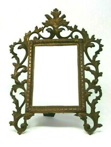 "Antique Victorian Cast Iron Metal Frame With Easel 4"" x 6"" Photo Space"