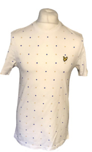 Lyle & Scott Men's Casual T Shirt White Patterned Medium 100% Cotton S/S