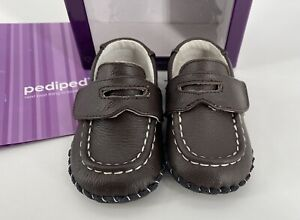 Pediped Infant Boy all leather brown Loafers walking Shoes Size 6-12 Months