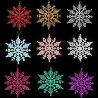 Christmas Tree Decorations - 12 Pack Glitter Snowflakes - Choose Colour