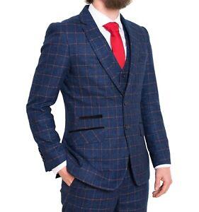 FDQ Mens Blue Orange 3 Piece Suit Window Check Tailored Fit 46 Chest 42 Waist