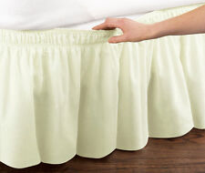Ivory Elastic Ruffled Bed Skirt: Wrap Around Easy Fit, Queen or King Sizes