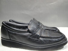 MENS 9 M STREETCARS BLACK LEATHER MOCCASIN MOCS WALKING COMFORT LOAFER SHOES
