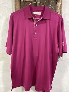 Men's Donald Ross Golf Shirt Sz Medium ~ Logo Left Sleeve ~ Magenta ~ Excellent