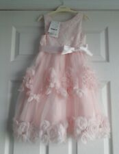 NEW MONSOON - Pink & Ivory Lace 3D Rosette Dress - Age 4