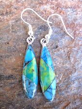 Stone Mosaic Inlay Handcrafted Earrings Made in Mexico Fair Trade NEW e2048