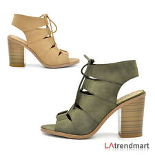 Women Open Toe Lace Up Block Stacked Chunky Heel Slingback Soda Sandal Quince