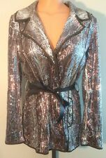 CHICO'S Sequins Snake Print Belted Jacket Sz 0 Snap Front Iridescent No Belt