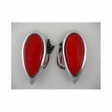 Red Led Tear Drop Trailer Car Truck Stop Turn Brake Tail Lights / Chrome Bezels