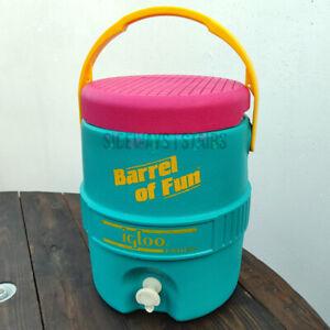 IGLOO BARREL OF FUN vintage drink cooler 90s teal pink yellow colorblock jade