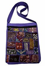 JORDASH BOHO EMBROIDERED RECYCLED SARI PATCHWORK COTTON SHOULDER BAG PURPLE