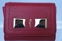 New Salvatore Ferragamo Mini Wallet Credit Card Holder ID Pouch Red Womens Sale