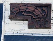 Rare Ornament Letterpress Wooden Printing Block Very Rare Art Nouveau Flower