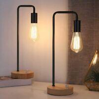 Set of 2 - Vintage Edison Bulb Lamp & Wooden Base, Retro Office Lamp for Bedroom