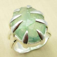 Claw Setting RING !! Real GREEN AMETHYST EXOTIC Silver Plated Jewelry Size US 8