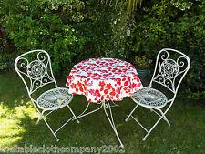 100cm ROUND PVC/VINYL OILCLOTH BISTRO TABLECLOTH - RED FLOWER ON WHITE