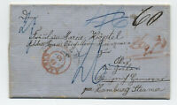 1858 New Orleans to Germany stampless Hamburg steamer [H.544]