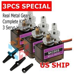 3Pcs MG90S 9g Digital Micro Servo Motor Metal Gear For RC Helicopter Car Racing