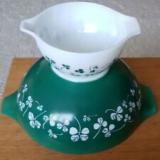 Rare Vintage JAJ Pyrex Clover Leaf Very Large Geeen Salad Bowl and Small Bowl