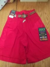 NWT VINTAGE 80s RETRO RED JORDACHE HIGH WAISTED SHORTS + BELT SIZE 5/6 NEW