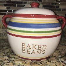 Baked Beans Pot STRIPED Crock With Lid Glazed Ceramic Oven Crock Slow Cook NEW!!