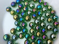 25 LUSTERED GREEN GLASS MARBLES 16mm traditional toy game play party bags trade