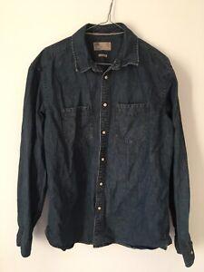 'North Coast' Dark Blue Denim Vintage Button-up Shirts. Large. 40 Reg/long.