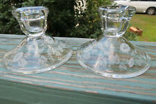2 Avon hummingbird morning glory candle sticks holders,lead crystal,etched