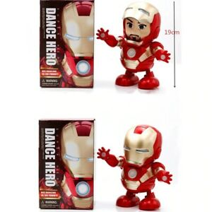 Electric Toy Dancing Iron Man Spider-Man Avengers hero LED acoustic Kids Gift