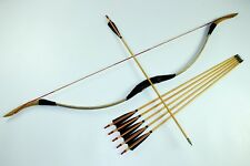 Handmade 45lbs Mongolian bow Leather Longbow Recurve Bow 6 wood arrows Archery