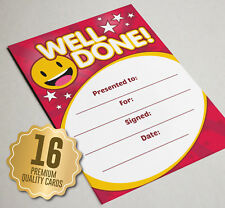 Well Done Award Certificate RED Smiley - 16 A6 Size - Great Kids School Reward