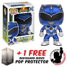 FUNKO POP POWER RANGERS BLUE RANGER METALLIC EXCLUSIVE + FREE POP PROTECTOR