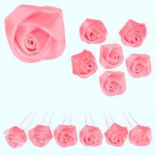 6 epingles pics cheveux chignon mariage danse classique fleur satin ROSE BONBON