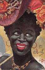1905? sgd. Arth. Thiele Black Lady with Hat April Fools Day April 1st post card