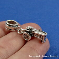 925 Sterling Silver Farm Tractor Dangle Bead Charm - fits European Bracelets
