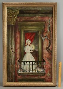 Antique BEATRICE ULLRICH Surreal Magical Realism Oil Painting, Nude Woman & Bats