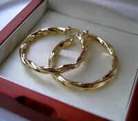 GENUINE 9ct gold hoop earrings gf, Stunning, CLEARANCE PRICE 64