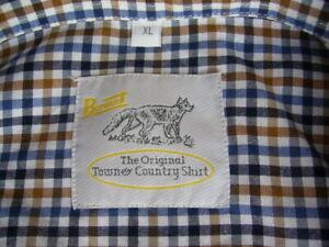 "RURAL Bonart mens XL brown check short sleeved farmer's shirt 24""ptp"