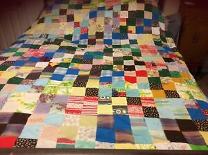 """Beautiful quilt top 71"""" by 78"""" made up of 4 square blocks of 3"""" squares"""