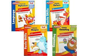 PLAYSKOOL, ALPHABET,COLOR,SHAPES, COUNTING, English, WORKBOOKS Set-4  Pre-K NEW!
