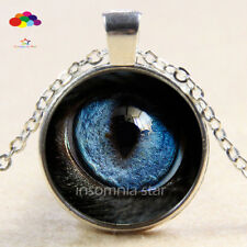Vintage Cabochon Tibetan Silver Glass leopard eye Chain Pendant Necklace zbq78