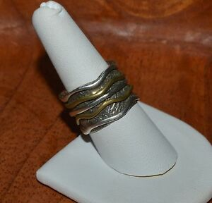 VINTAGE STERLING SILVER AND COPPER SPINNER WIDE BAND RING SIZE 8.5