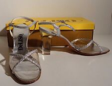 Vintage 70s DELISO Silver Strappy Sandals THICK LUCITE HEELS Original Box Sz 8N