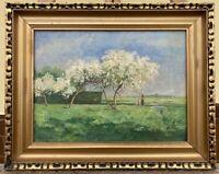 Landschaft mit Baumblüte und Personen Malerin Mary Lührs 1920 Jugendstil 42 x 53