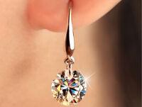 Fashion Jewellery White Crystal Charming 18K White Gold Dangle Earring