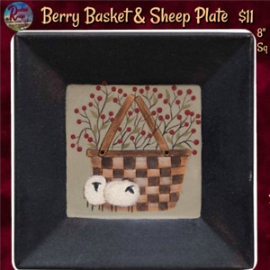 New Primitive Country Folk Art BLACK BERRY BASKET SHEEP PAINTED PLATE Picture