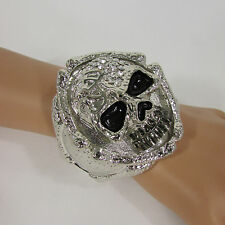 New Women Silver Hand Bones Skeleton Wide Multi Skull Head Face Fashion Bracelet