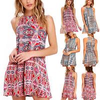 Women Sleeveless Summer Boho Floral Print Beach Swing Dress A-Line Mini Sundress